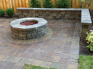 Paver Patio, Firepit & Wall