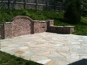 Custom Masonry Wall & Natural Stone Patio