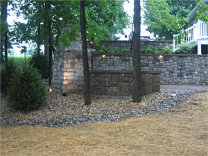 Retaining Walls, Fireplace & Patio