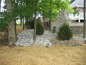 Custom Stone Stairs, Retaining Wall & Fireplace