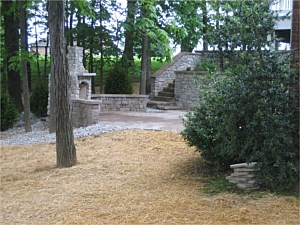 Custom Retaining Wall, Fireplace & Patio
