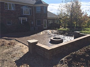 Patio, Wall & Firepit